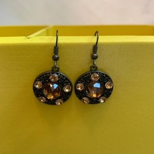 Jewelry - Light Orange Crystal Antique Copper Toned Earrings
